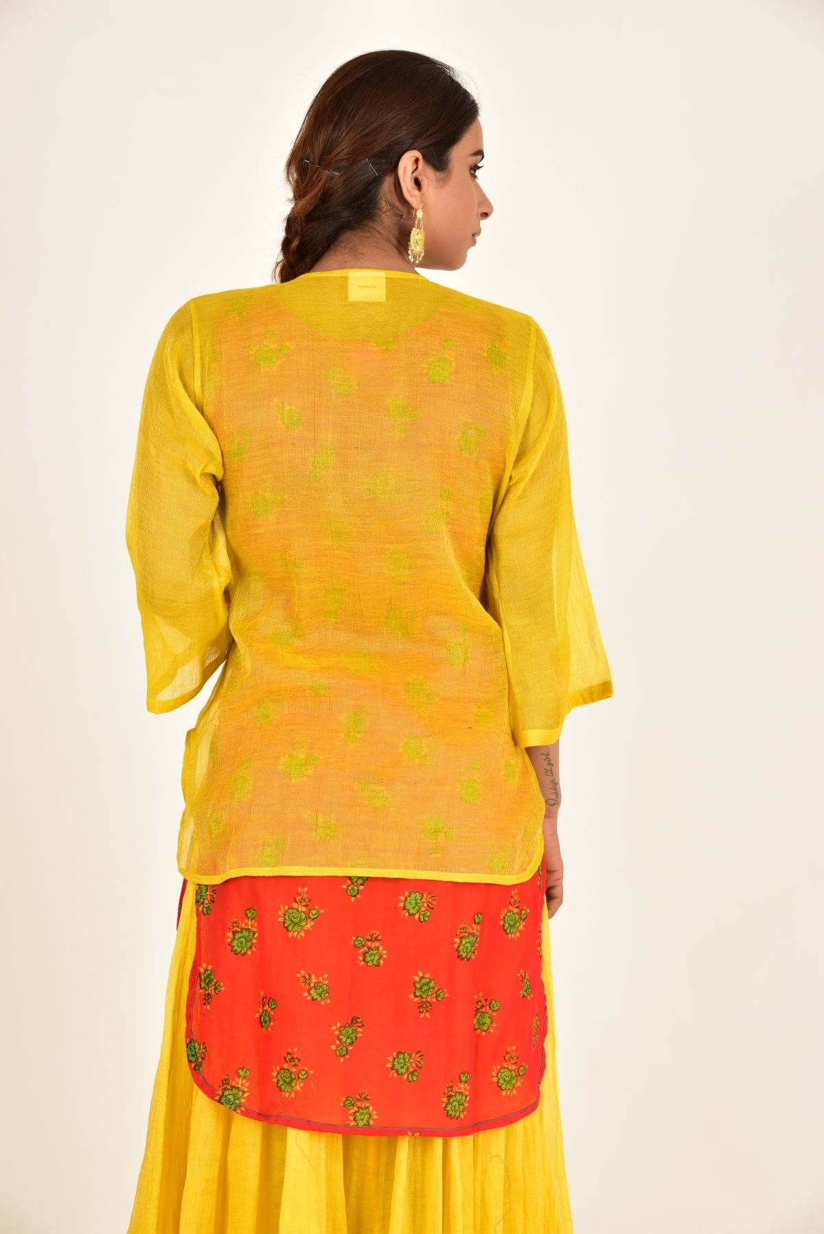 NARAYANI YELLOW CHANDERI TOP