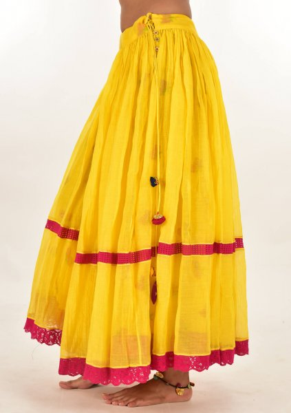 Nayna Yellow Chanderi Cotton Reversible skirt