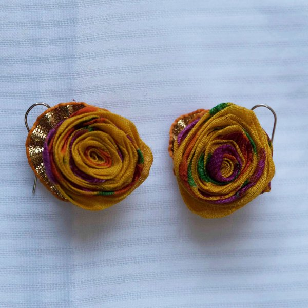 Kiri Handmade Yellow Fabric Rose Textile Earings for Women