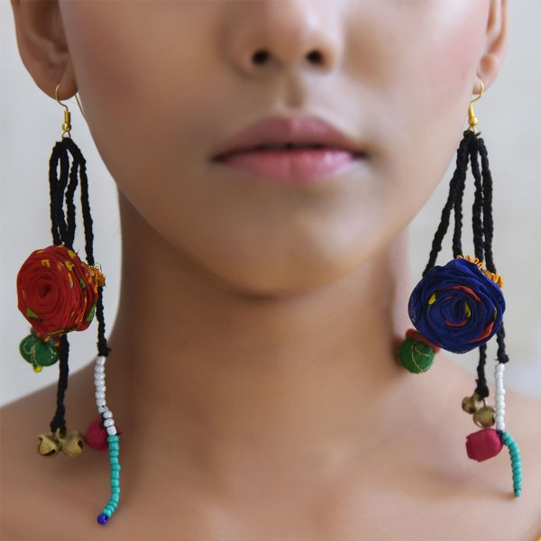 Tae Handmade Colorful Fabric Roses with Melamine Beads Textile Earings for Women