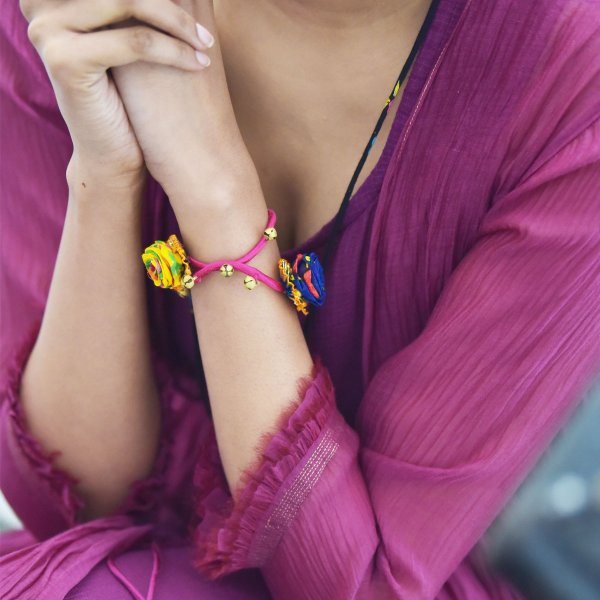 Rangatira Handmade Colored Roses with Gota Sepal Textile Braclet for Women