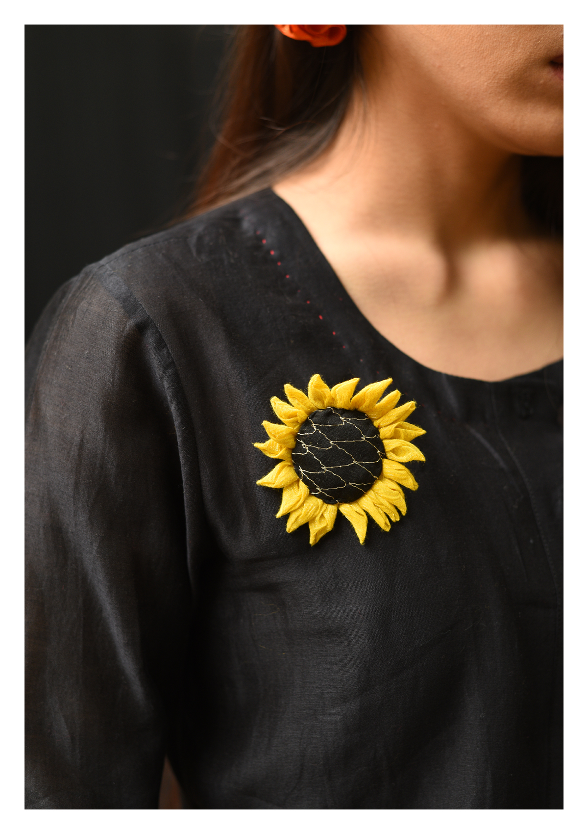 Sunflower Handmade Textile Brooch