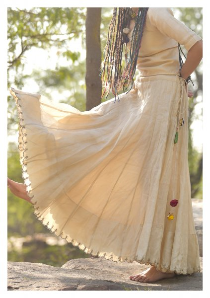Noori Gold Chanderi Tissue Skirt