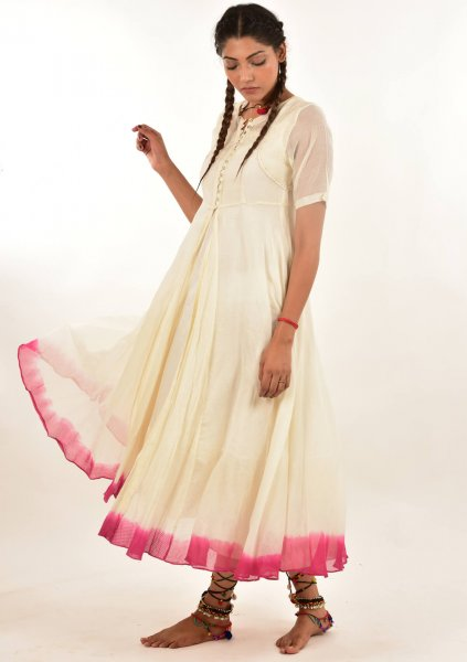 Nori White Chanderi Cotton Dress