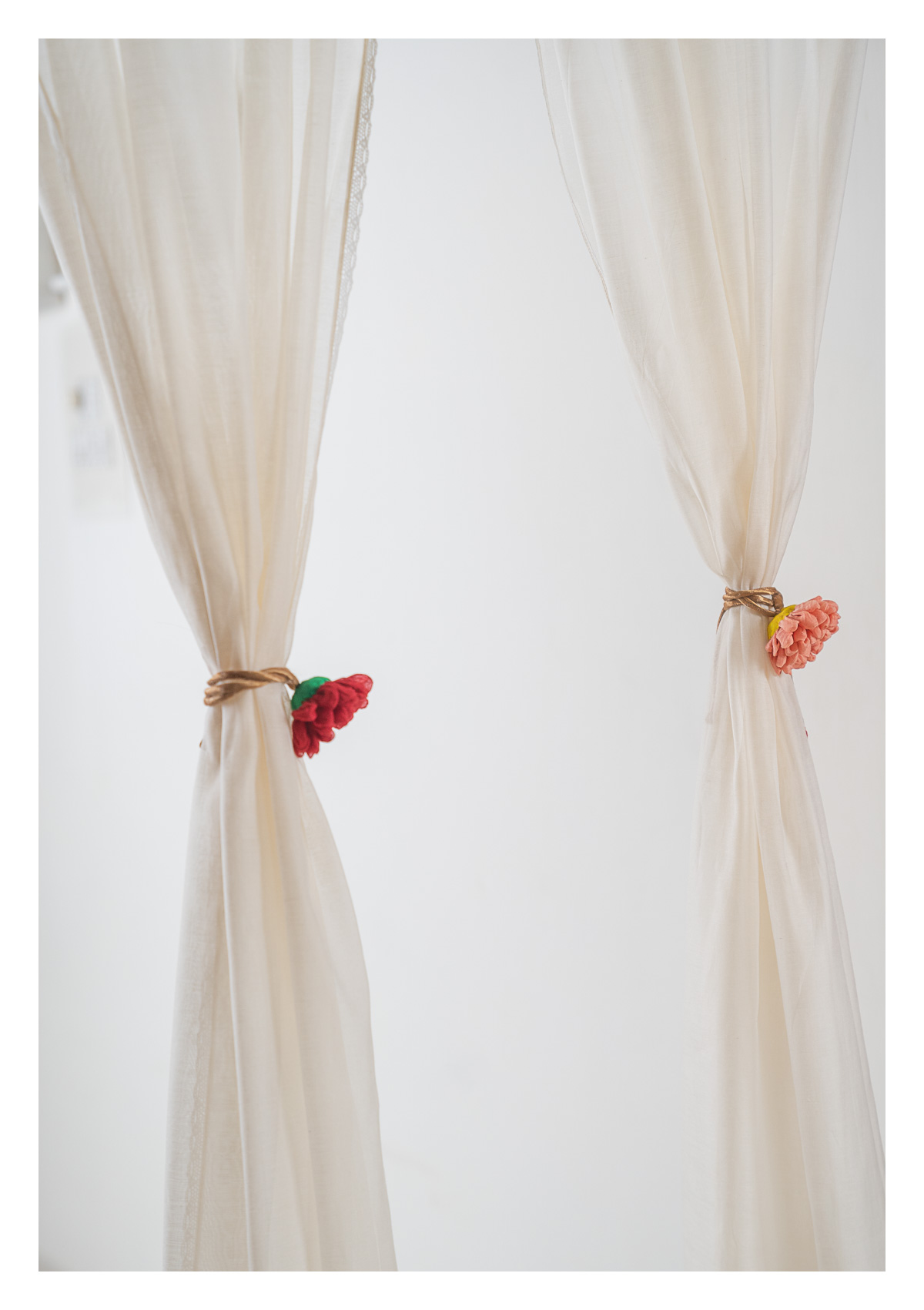 Rosa Peach & Red Curtain Ties - Set of 2