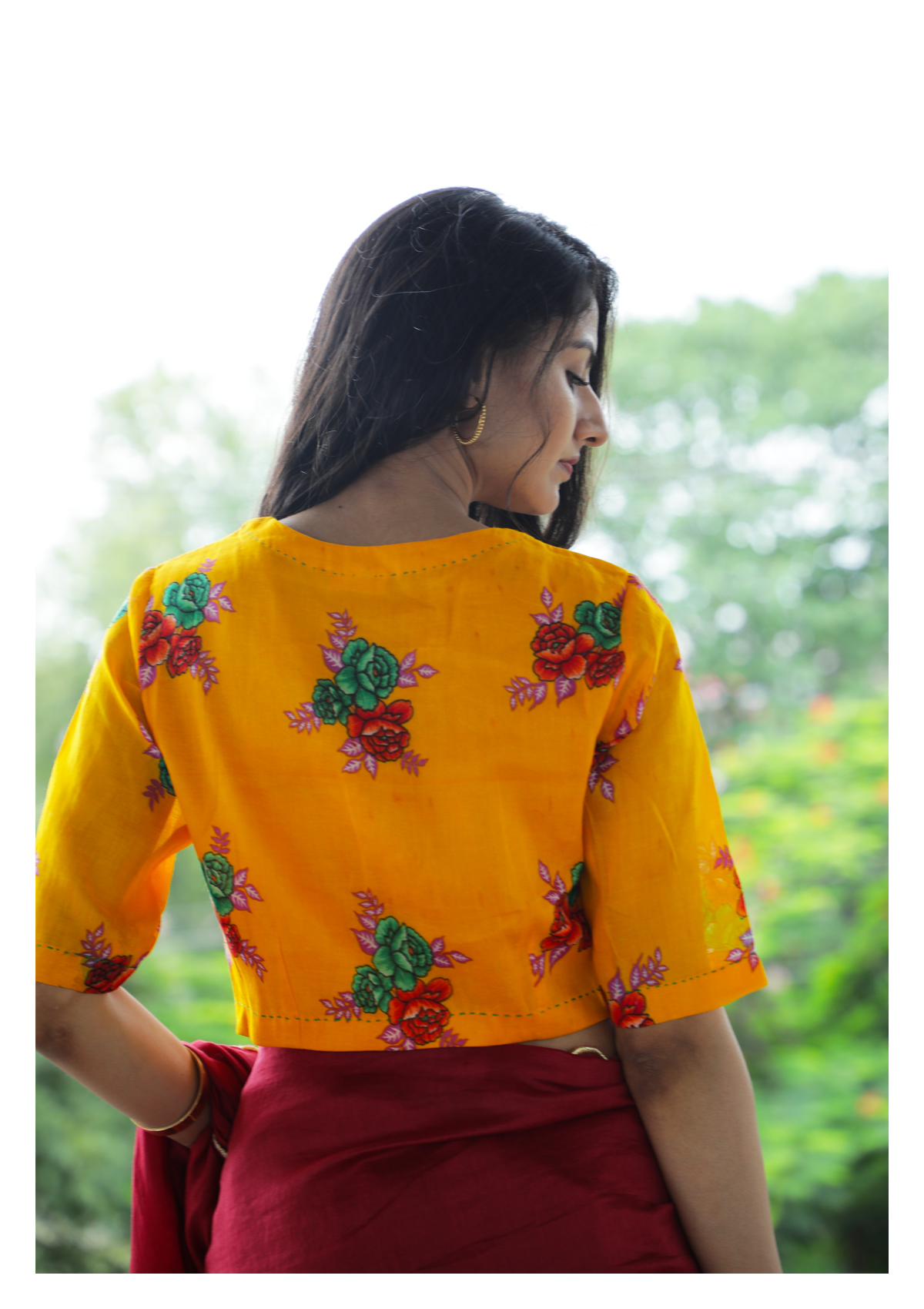 Sun Sprinkle Yellow Cheent Blouse