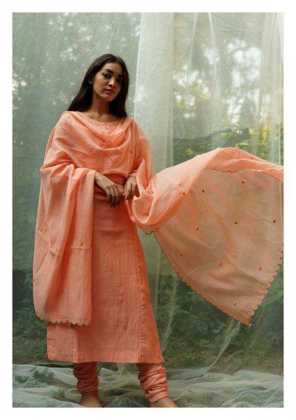 Palash Peach Kurta Churidaar Dupatta Set
