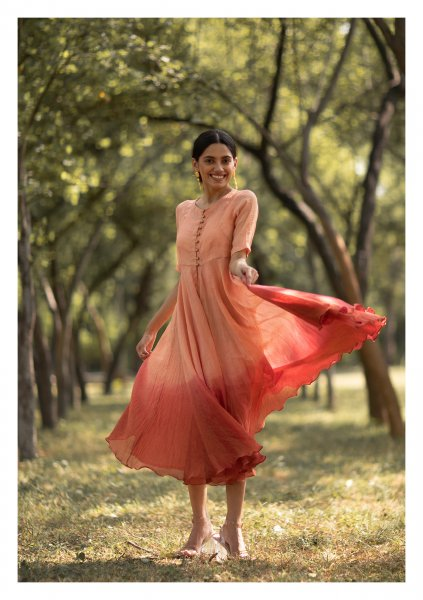Passion Flower Peach Overlay Dress