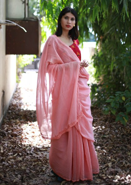 Suhani Peach Crochet Chanderi Saree