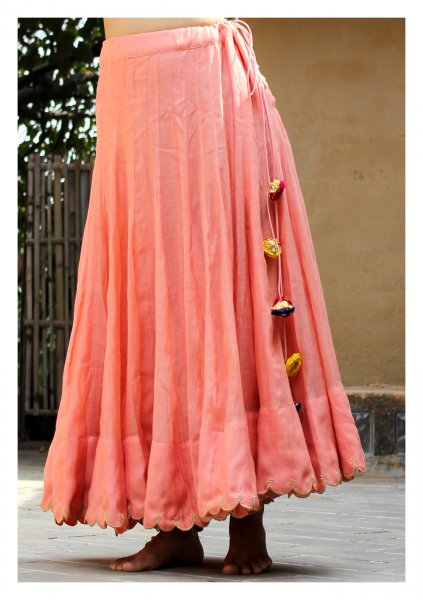 Ruba Peach Chanderi Skirt
