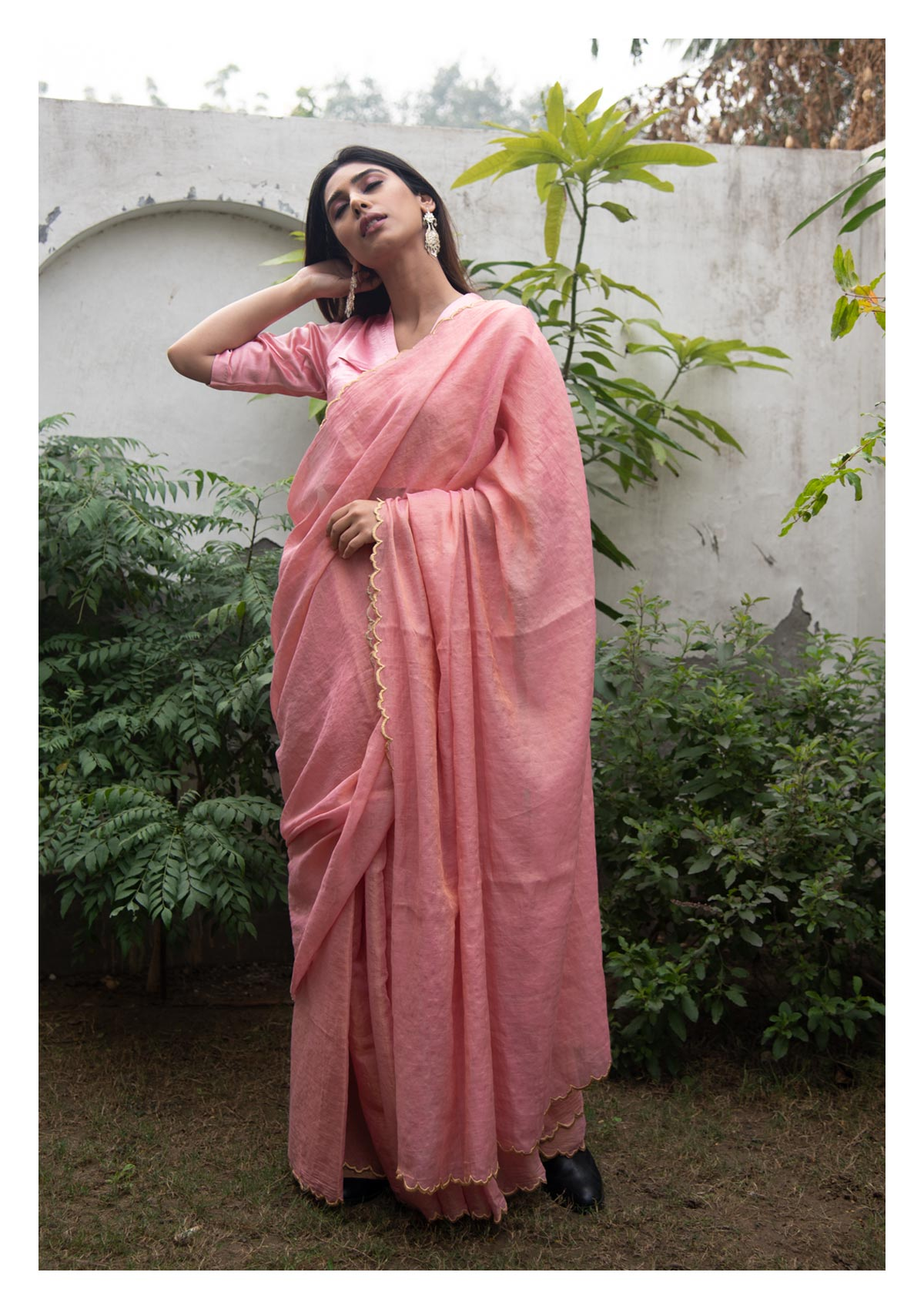 Sorbet Pink Gold Chanderi Tissue Saree