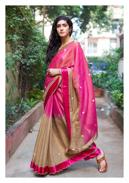 Heather Pinkish Brown Tissue Chanderi Saree