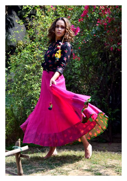Izel Pink Black Shirt Ghagra Set