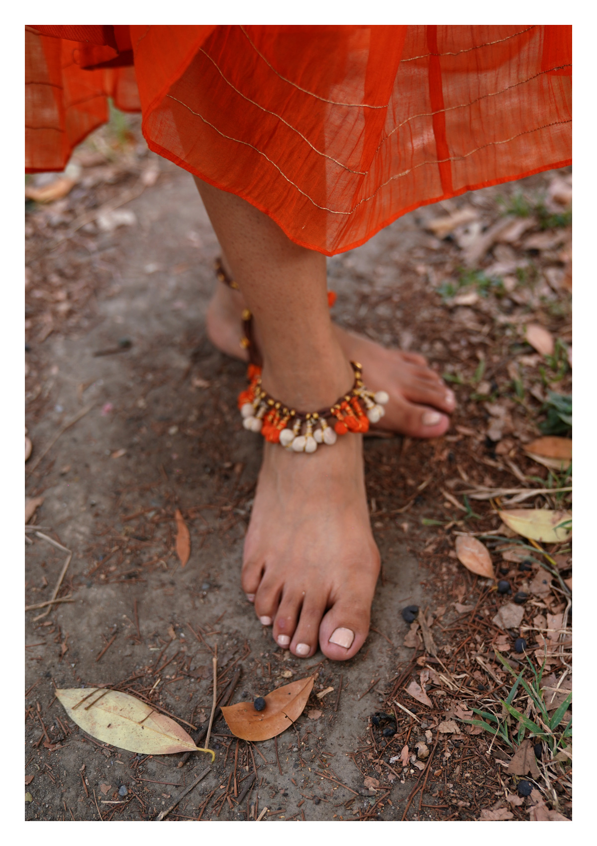 Orange Zest Textile Anklet