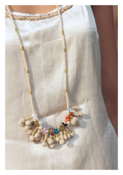 Seventh Heaven Ivory Textile Necklace