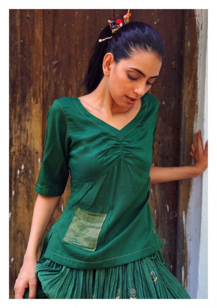 Acacia Green Cotton Blouse