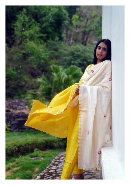 Dahlia Yellow Kurta Pants Dupatta Set