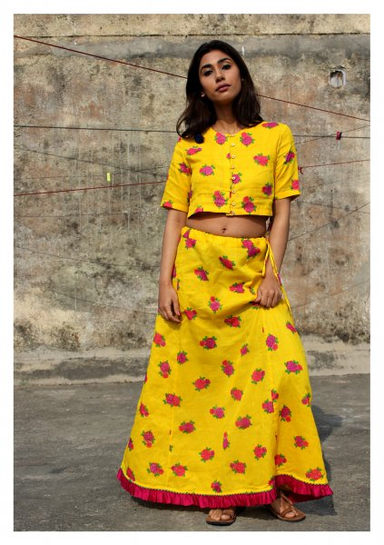PunPun Yellow Cotton Blouse Petticoat Set