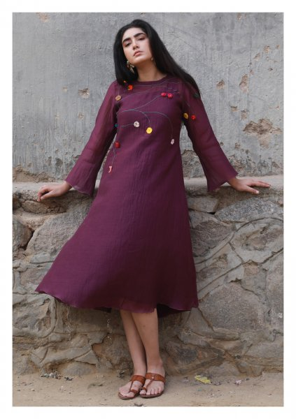 Vineyard Romance Purple Chanderi Dress