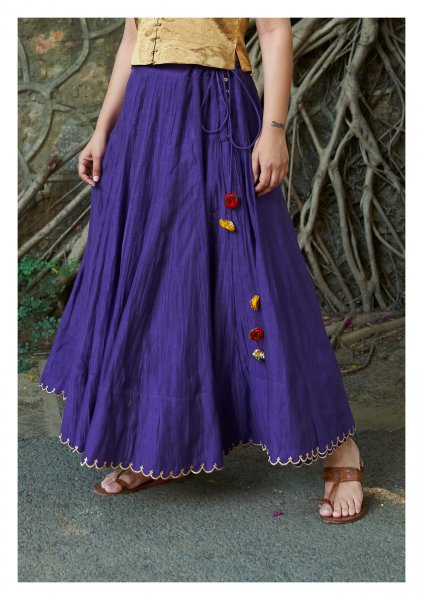 Gaya Purple Chanderi Skirt