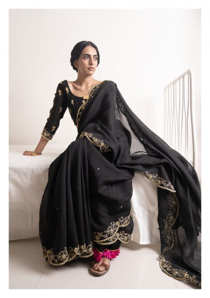 Raatkali Black Chanderi Saree