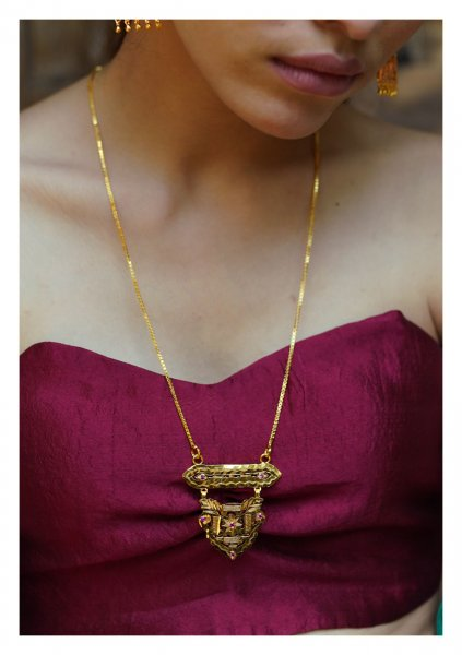 Radha Handmade Goldtone Silver Necklace