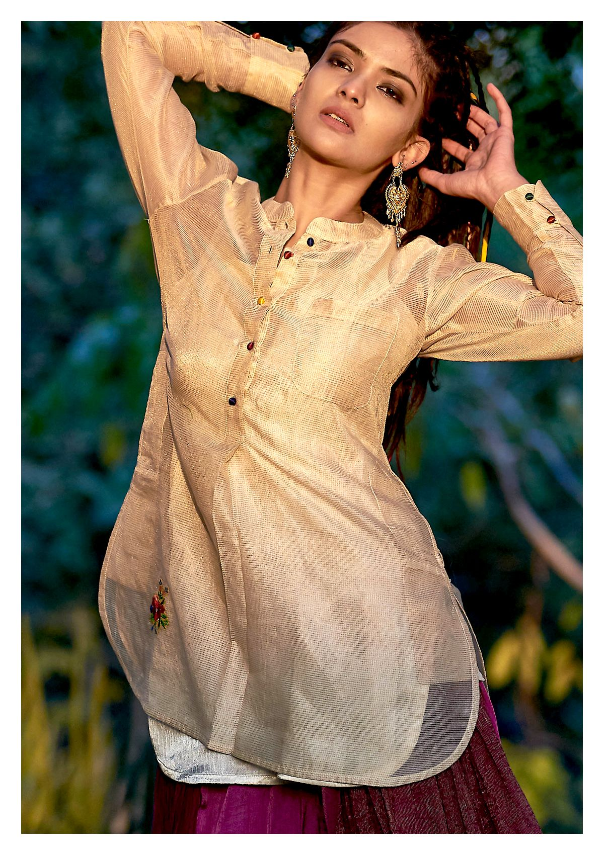 Rafu Gold Chanderi Tissue Shirt