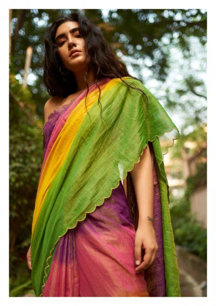 Rainbow Chanderi Tissue Saree