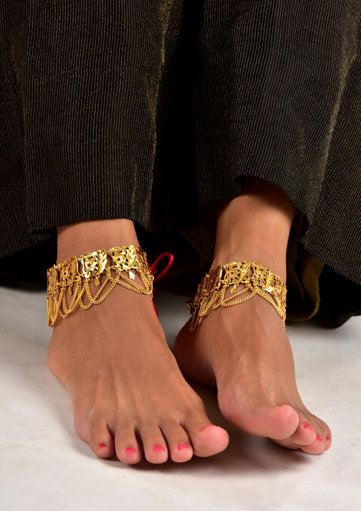 and payal ad fashion plated anklets content two anklet fancy gold golusu tone silver