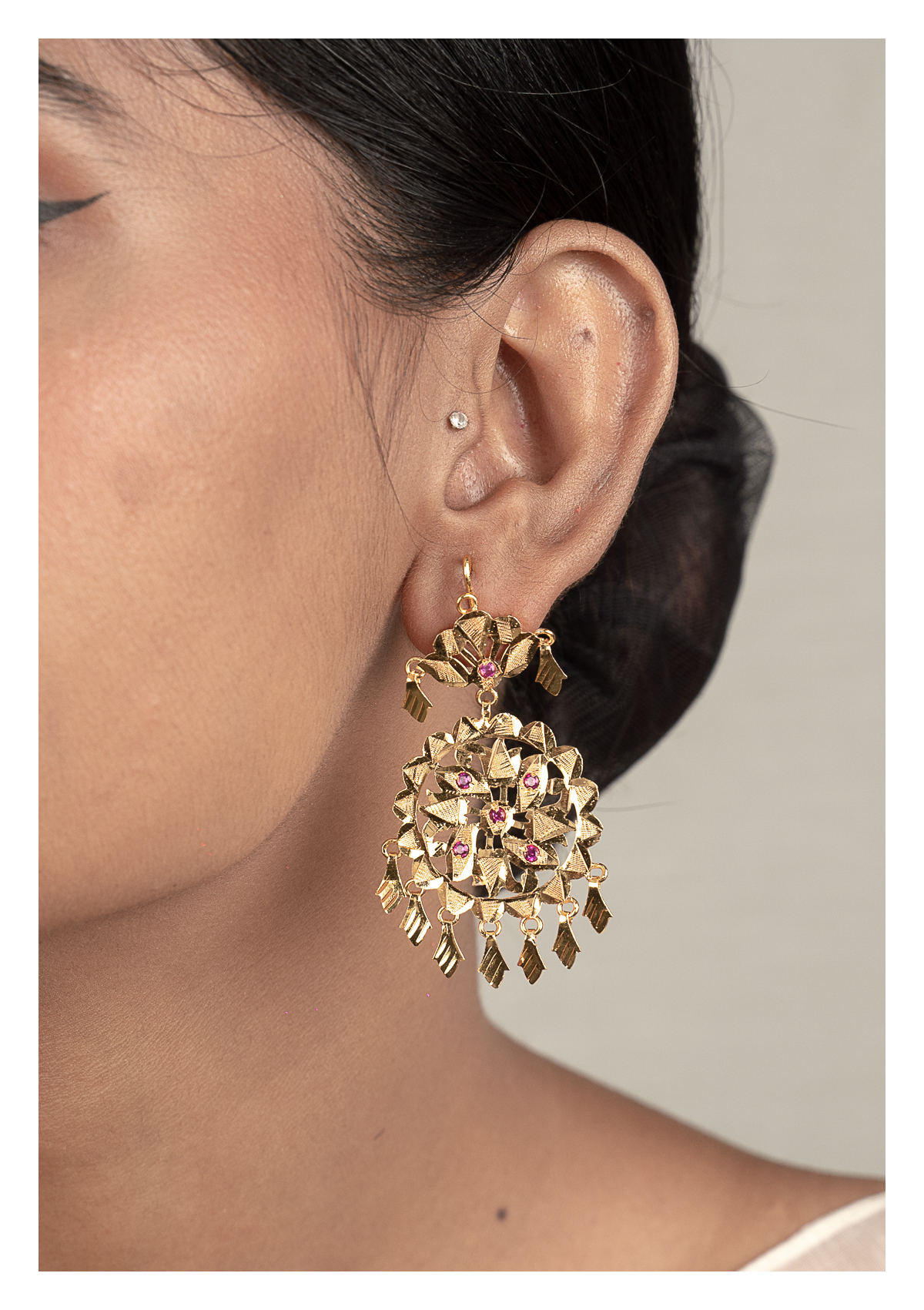 Rangana Gold Tone Silver Earrings