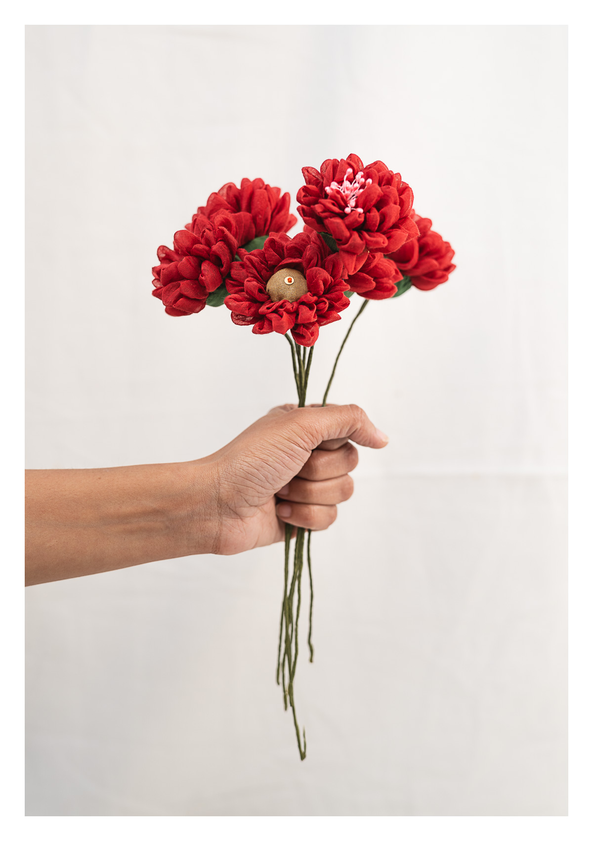 Carnation Red Textile Flowers Bunch