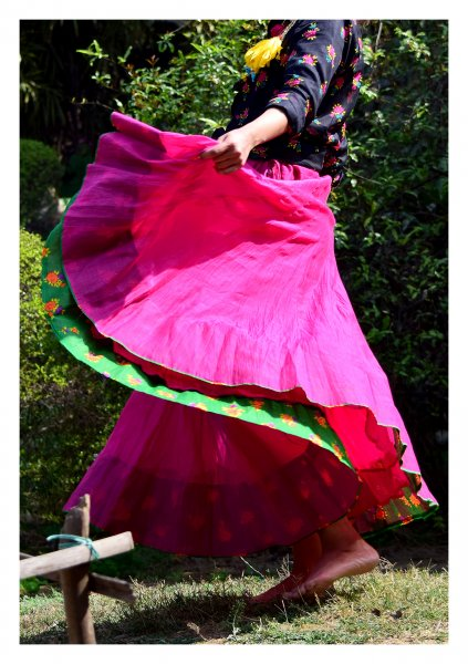 Narisa Pink Chanderi Skirt