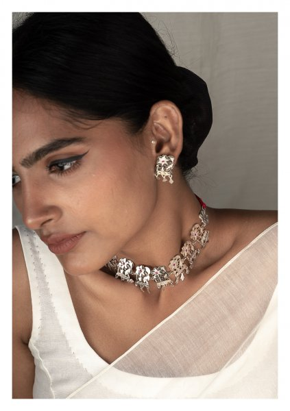 Reshma Silver Necklace & Earrings Set
