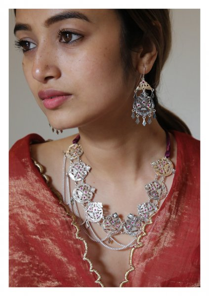 Dilsara Silver Necklace Earring Set