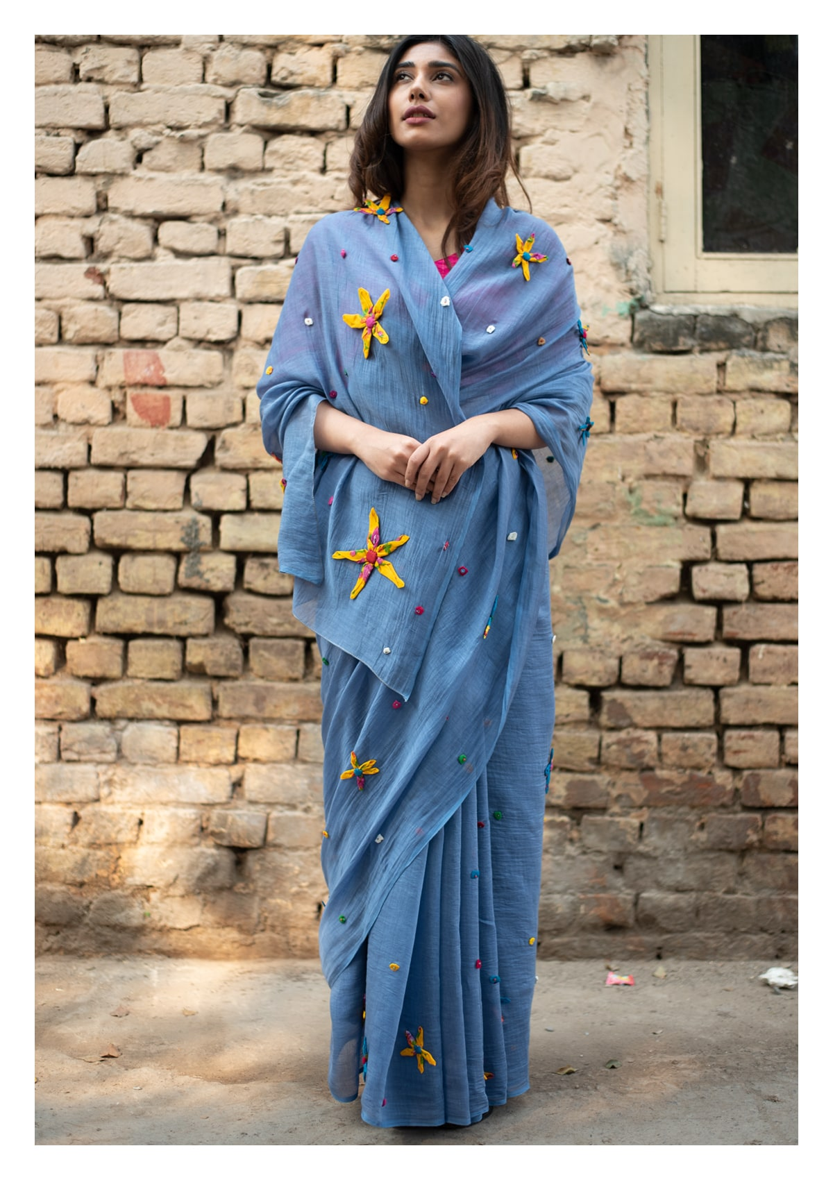 Champa Grey Chanderi Saree