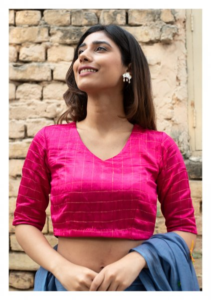 Rosana Hot Pink Mashru Blouse