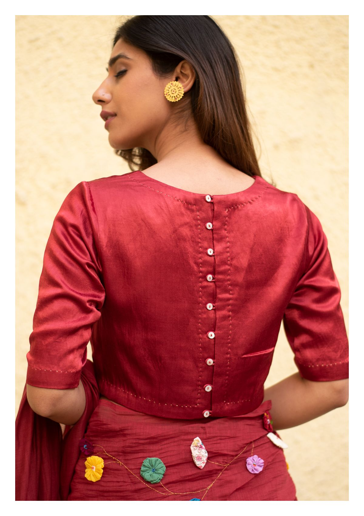 Red Wine Mahroon Mashru Blouse