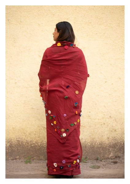 Bloody Mary Mahroon Chanderi Saree