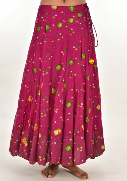 Gudia Pink Bandhni Cotton Skirt