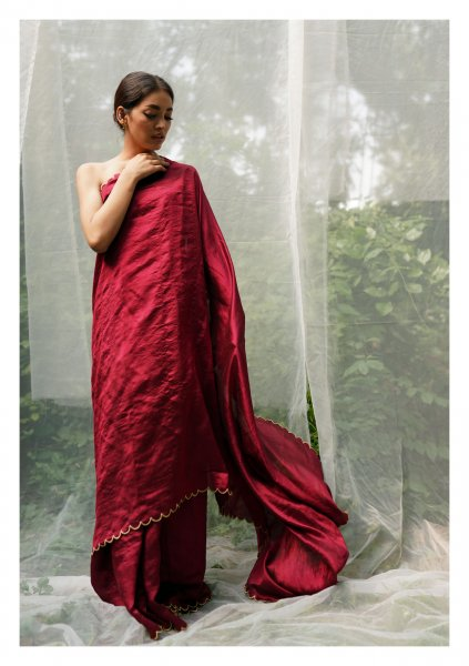 Sadabahar Red Mulberry Silk Saree