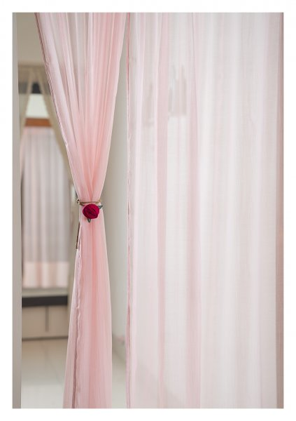 Sakura Pink Chanderi Sheer Curtain- Set of 2