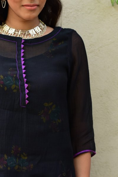 Sanwari Black Chanderi Short Top