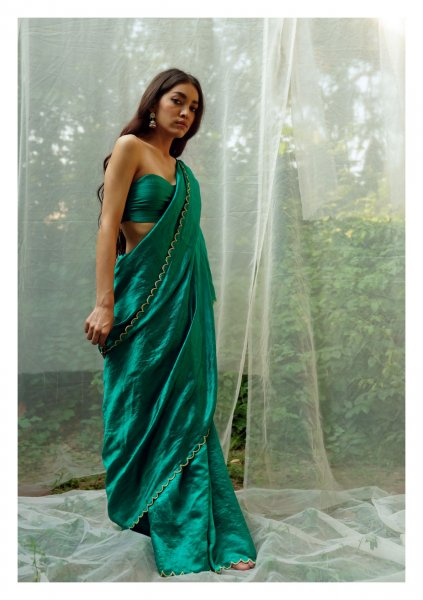 Savani Green Mulberry Silk Saree