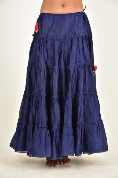 SESHA BLUE CHANDERI RUFFLE SKIRT