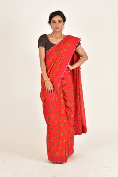 Somali Red Chheent Cotton Scalloped Saree