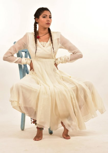Subahi Cream Angrakha Chanderi dress