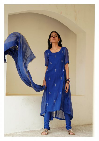 Freesia Blue Kurta Churidaar Dupatta Set