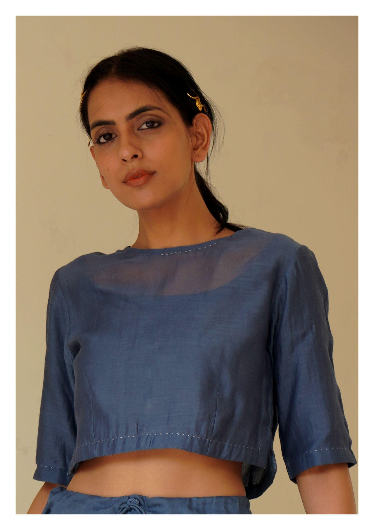 Marina Chanderi Grey Blouse