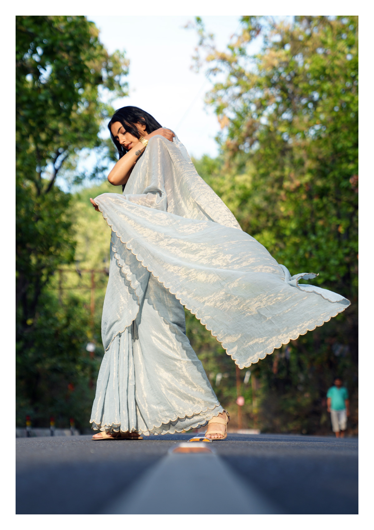 Snowdrop Tissue Chanderi Saree