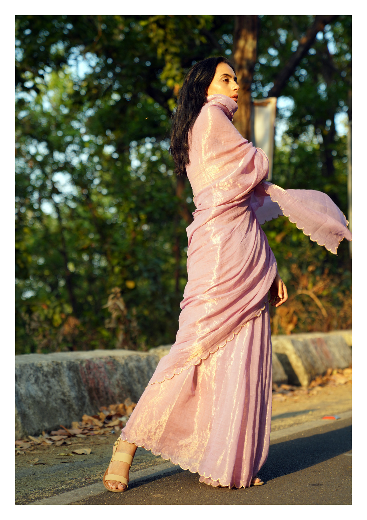 Lavender Lullaby Tissue Chanderi Saree